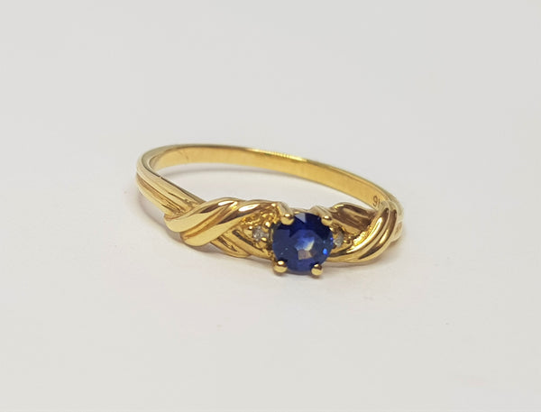 Sapphire Set In Celtic Shoulders 9ct YG Ring