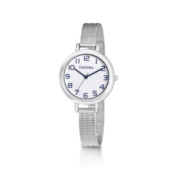 Palma by Isadora White and Blue Figure Dial and Silvertone Fine Mesh Bracelet Watch