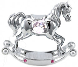 Crystocraft Pink Crystal Rocking Horse Silver