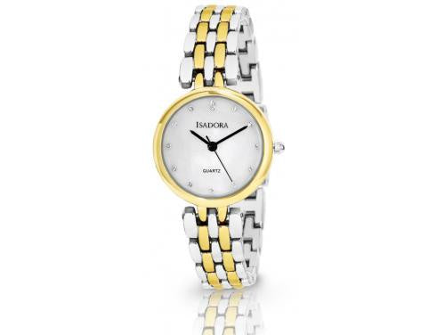 Alora by Isadora Mother of Pearl and Crystal Set Dial with Two Tone Bracelet Watch