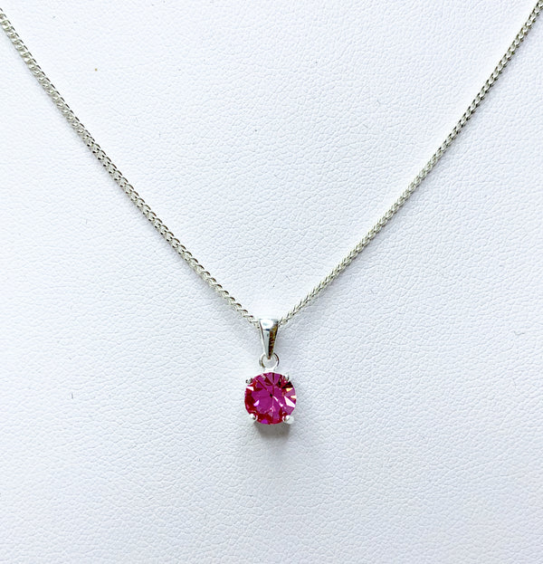 Round Rose Sterling Silver Pendant