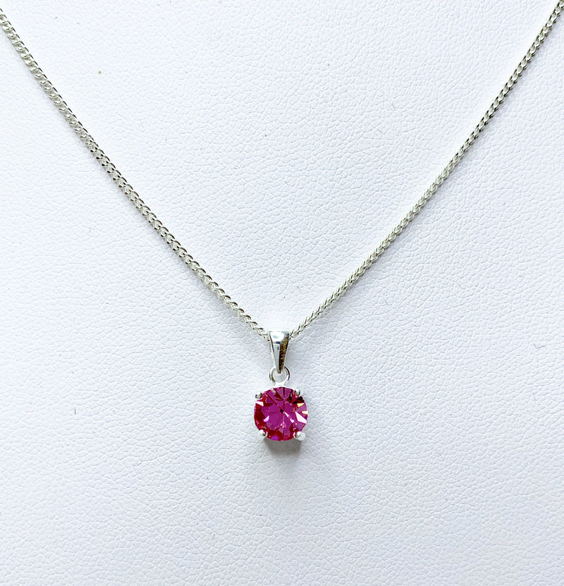 6mm Round Rose Crystal Sterling Silver Pendant