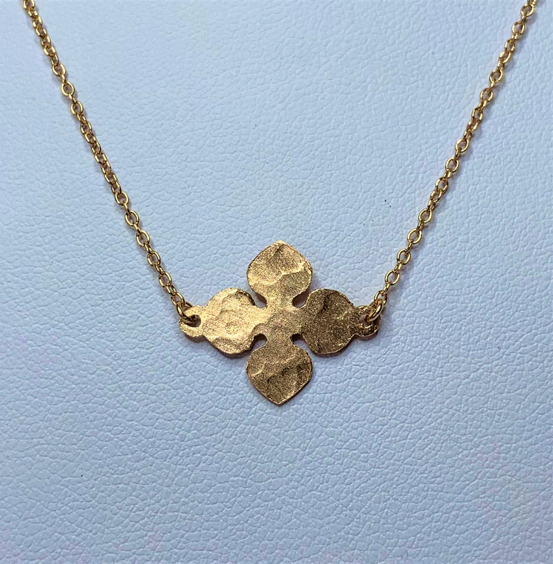 Rose Gold Plate Pressed Flower Sterling Silver Necklet