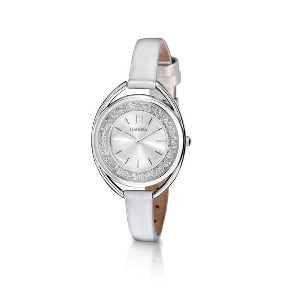 Marbella by Isadora Silvertone Crystal Filled Case with Silver Leather Strap Watch