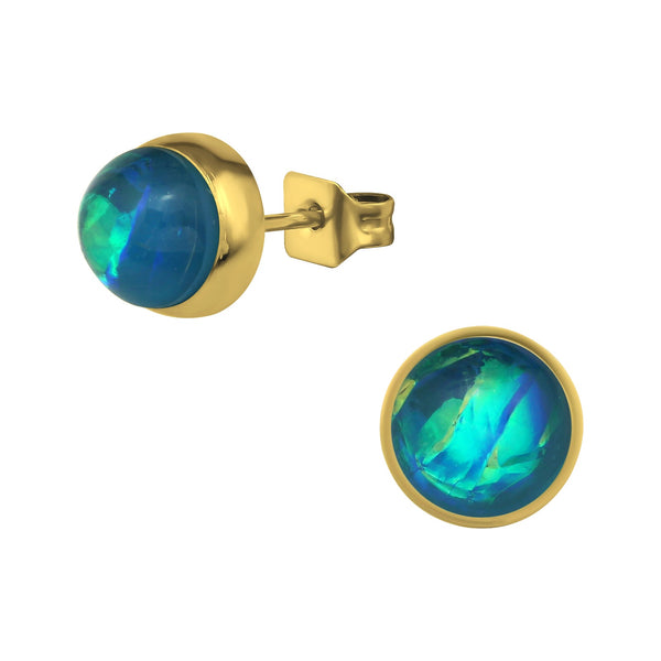 Blue Opal Rose Gold Plate Round Stainless Steel Studs