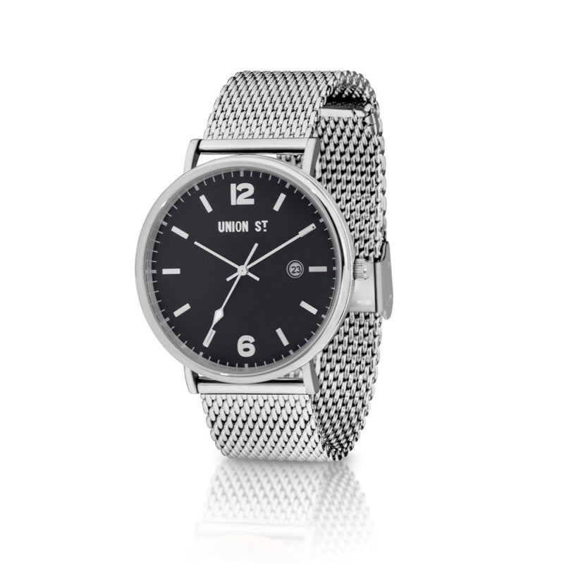 Union St William Black Dial with Steel Mesh Watch