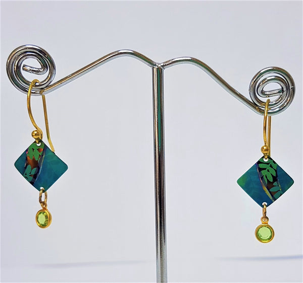 Teal Montage Crystal Earrings
