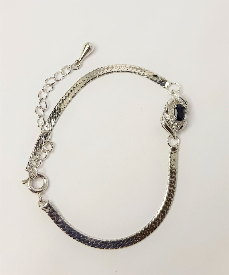 Oval Sapphire and CZ Sterling Silver Bracelet