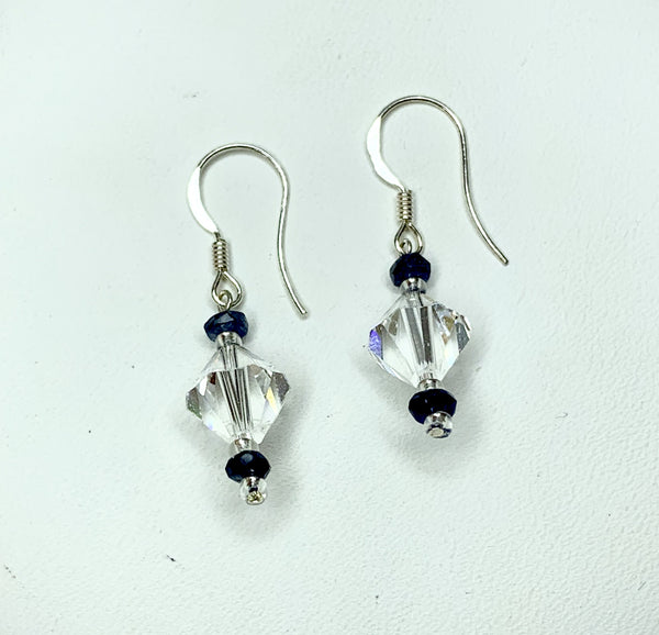 Sapphire & 8mm Clear Facet Bicone  Crystal Sterling Silver Shepherd Hooks