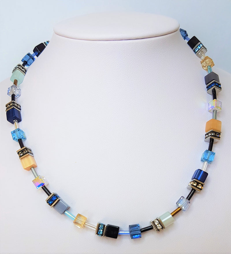 Blue Geo Cube with Polaris Rhinestone Glass and Swarovski Crystals Necklace