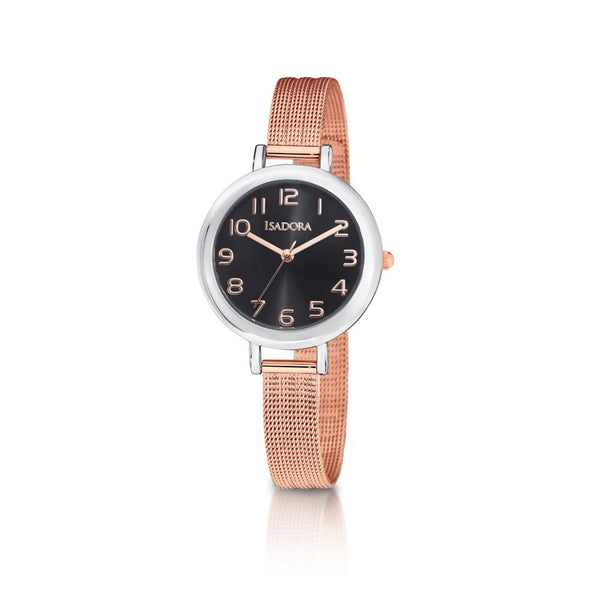 Palma by Isadora Gun Sunray Dial with Rose Gold Numerals and Rosetone Mesh Bracelet Watch