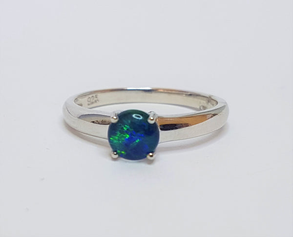 Round Opal Claw Sterling Silver Ring