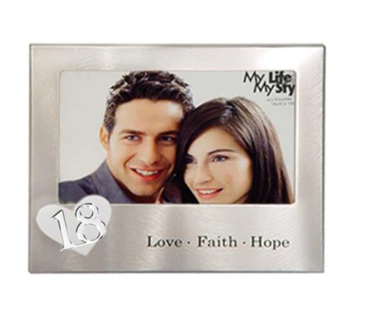 18th Love Faith Hope Silver Metal Photo Frame