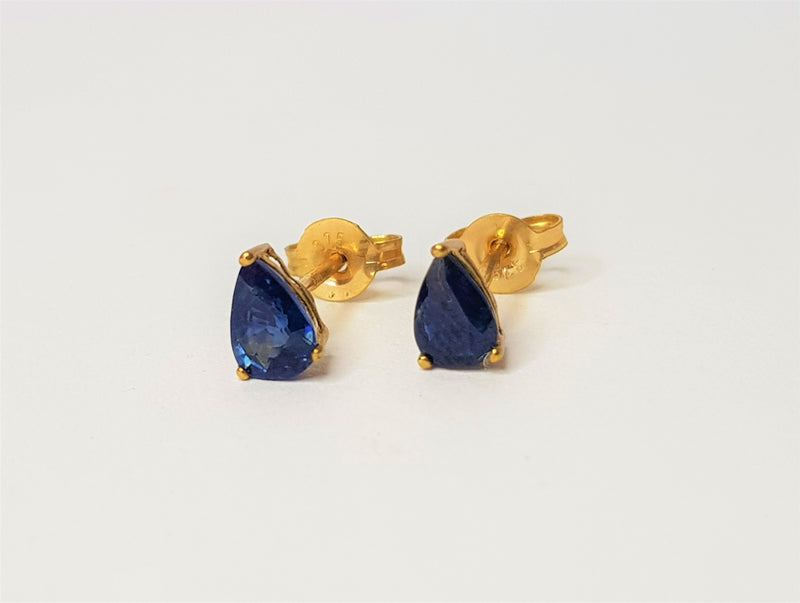 9ct Yellow Gold Pear Sapphire Studs