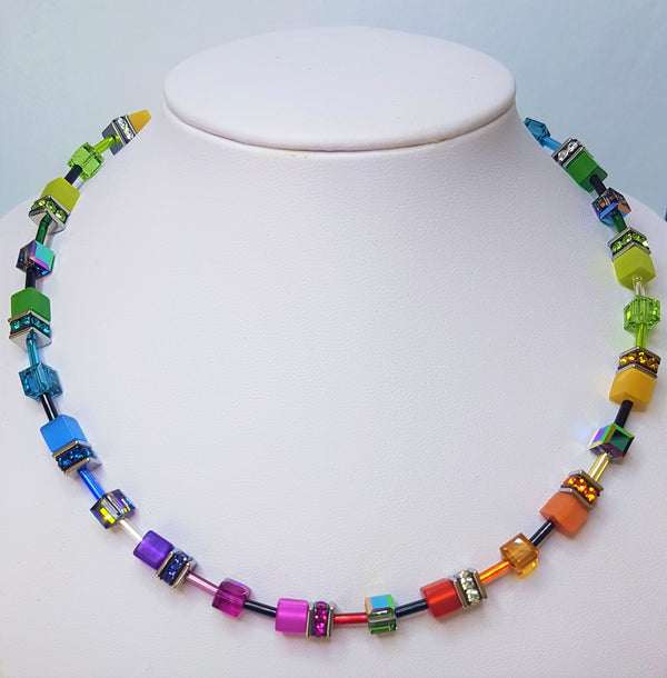 Multi colour Geo-Cube Necklace