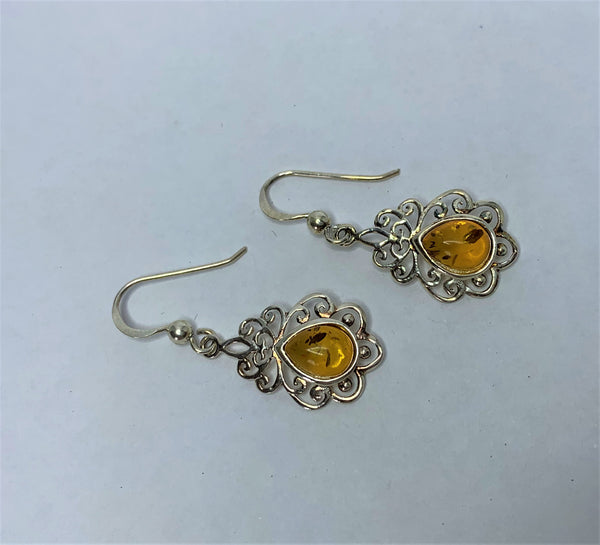Amber Filigree Sterling Silver Shepherd Hook Earrings
