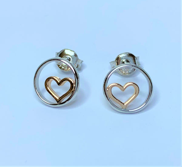 RGP Heart in Circle Sterling Silver Studs