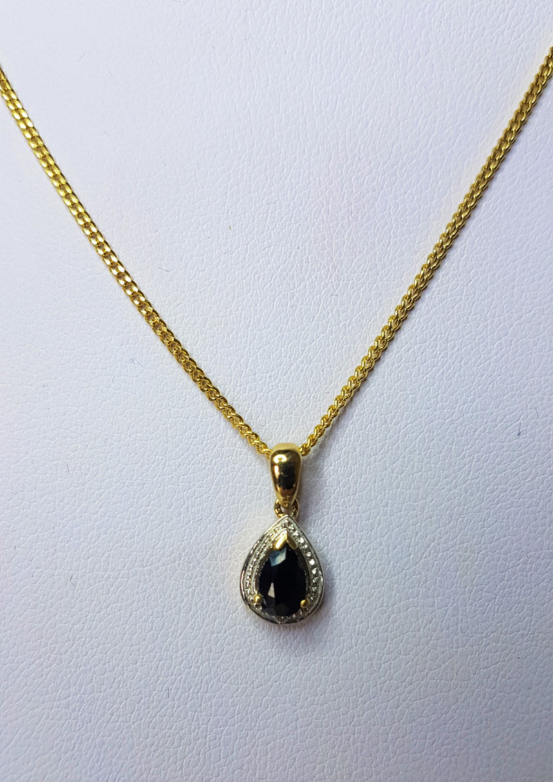 9ct Yellow Gold Pear Sapphire and Diamond Pendant