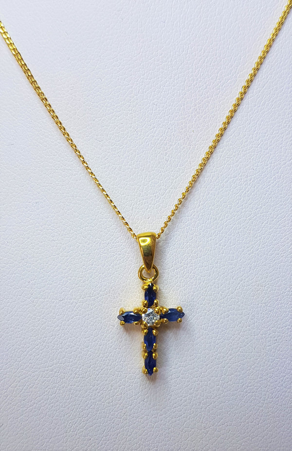 Sapphire and Cubic Zirconia Sterling Silver Gold Plated Cross Pendant