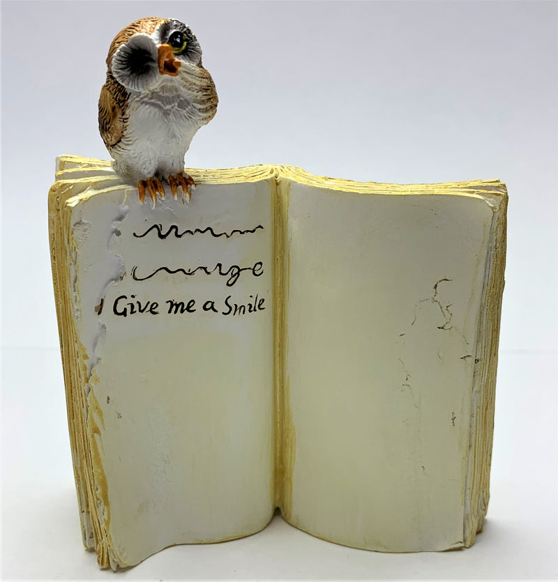 """Give Me A Smile"" Owl Sitting On Book"