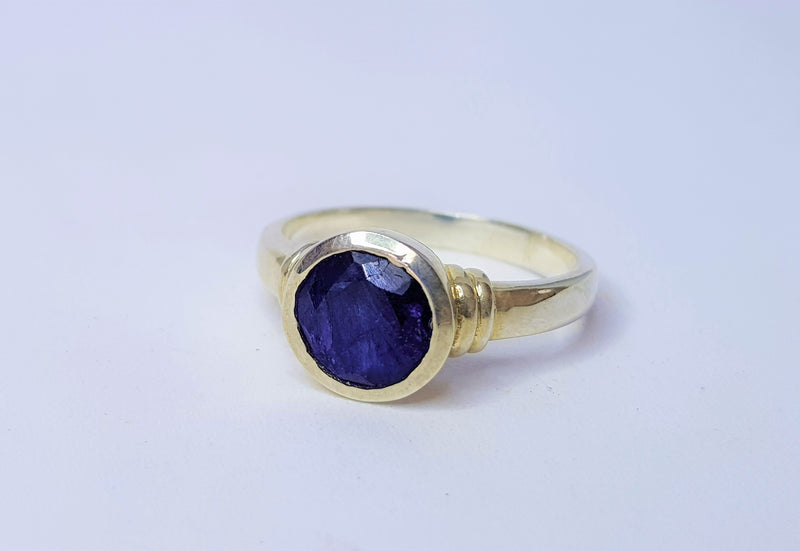 Round Sapphire Bezel Set Ridged Shoulder Sterling Silver Ring