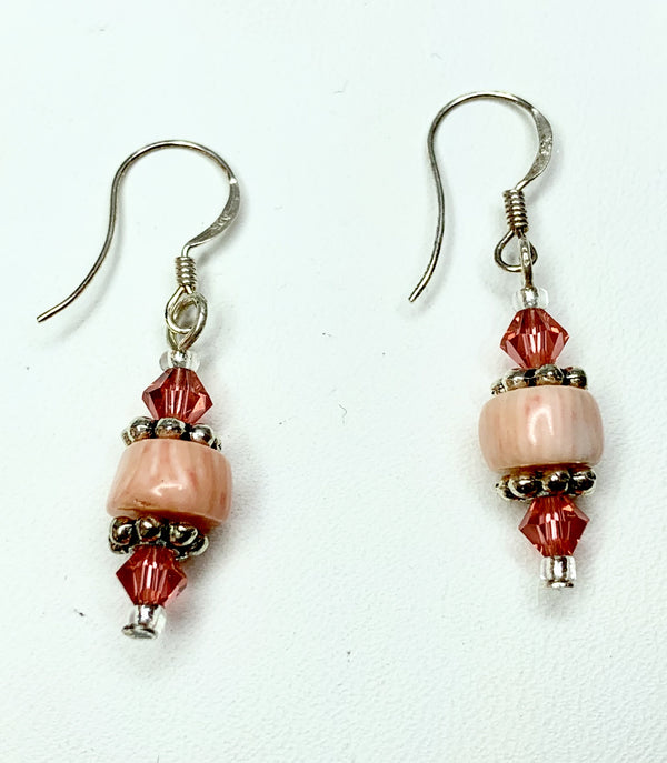 Rose Coral and Swarovski Crystal Sterling Silver Drops