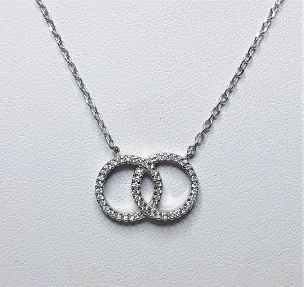 Double Circle of Love Cubic Zirconia Sterling Silver Necklace  with attached Sterling Silver Chain