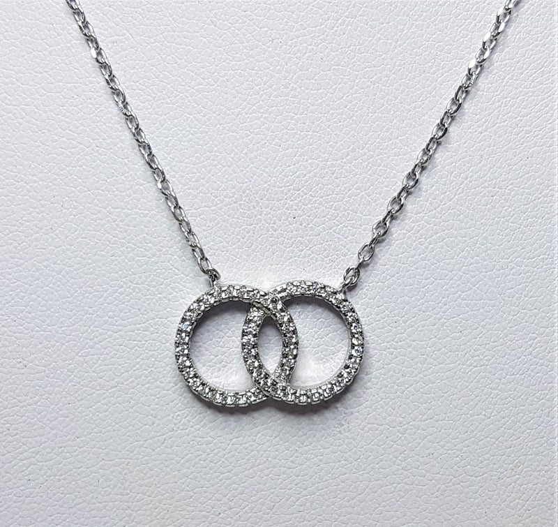 Cubic Zirconia Double Circle Sterling Silver Necklace