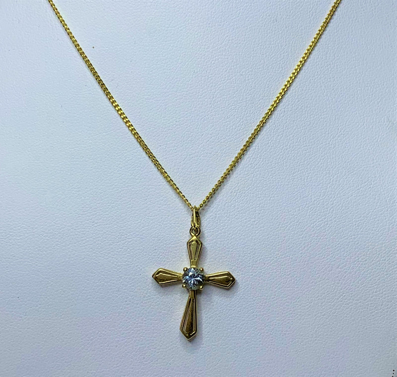 9ct Yellow Gold Pale Blue Sapphire Cross Pendant