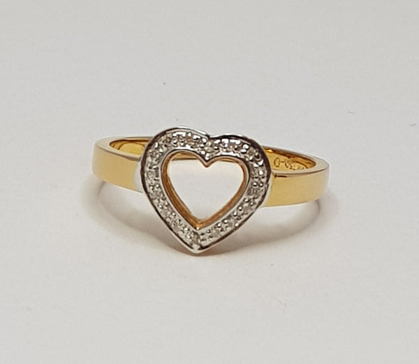 18ct Rose Gold Diamond Heart Ring