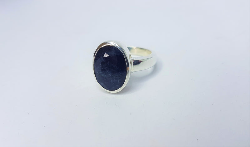 Oval Sapphire Bezel Sterling Silver Ring
