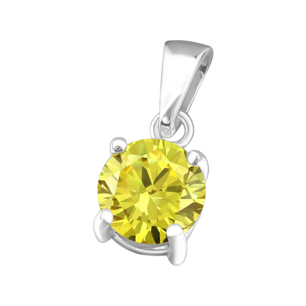 November, Yellow Cubic Zirconia Claw Set Sterling Silver Pendant