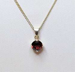 Garnet Sterling Silver Brilliant Cut Pendant