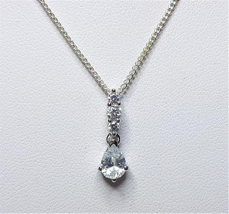 White Pear Cubic Zirconia Sterling Silver Pendant
