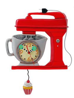 Vintage Mixer Red Pendulum Clock