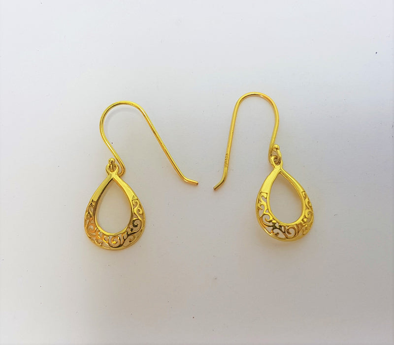 Filigree Yellow Gold Plate Sterling Silver Hooks