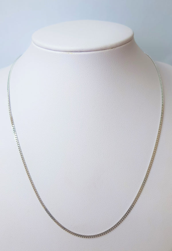 18ct White Gold Diamond Curb Chain
