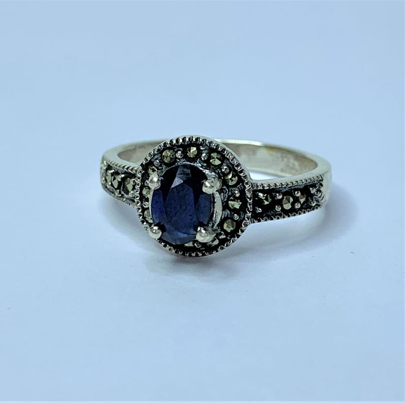 Oval Sapphire and Marcasite Halo Sterling Silver Ring