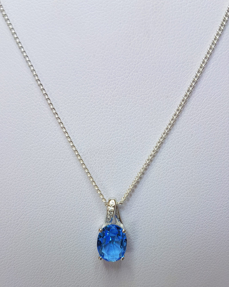 Blue Crystal & CZ Twist Sterling Silver Pendant