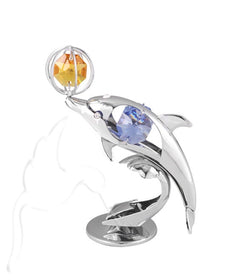 Swarovski Mini Dolphin playing with Ball Silver