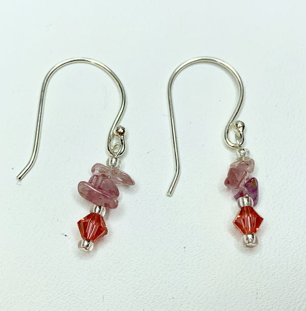 Pink Tourmaline, Swarovski Crystal & Sterling Silver Drop Earrings