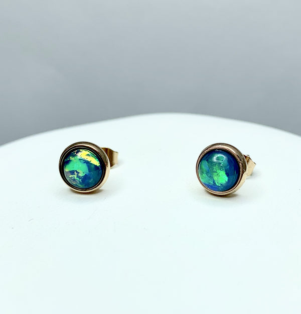 Rose Gold Plate Stn/Stl  Round 7mm Studs (Syn) Opal