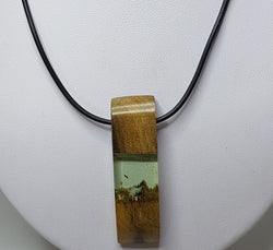 Wood and Resin Pendant with Leather Cord