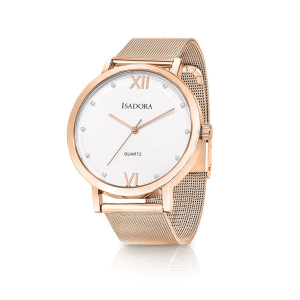 Merida by Isadora White Crystal Dial with Rose Plated Stainless Steel Mesh Bracelet Watch