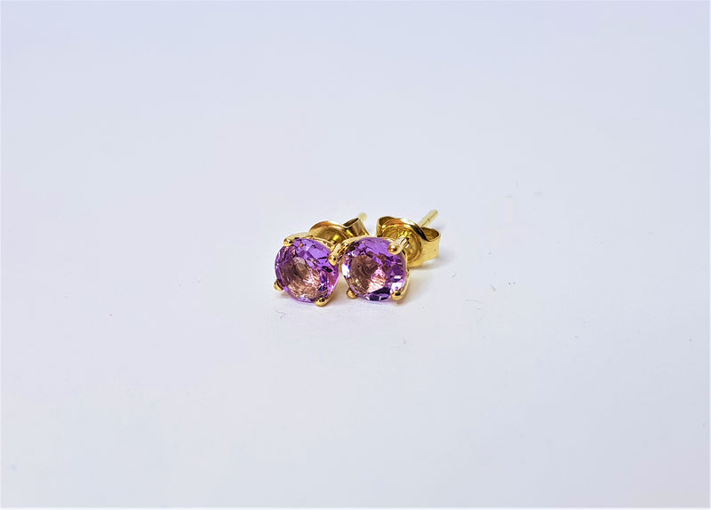 9ct Yellow Gold 5mm Brilliant Cut Amethyst Studs