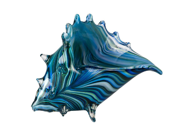 Blue, Green and Light Blue Glass Shell Figurine