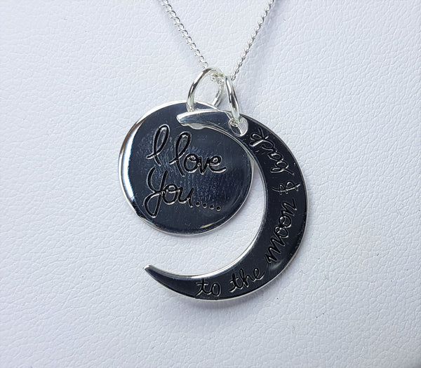 """Love you to the Moon and Back"" Sterling Silver Pendant"