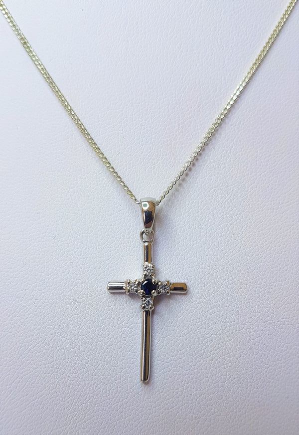 Sapphire and Cubic Zirconia Set Sterling Silver Cross Pendant