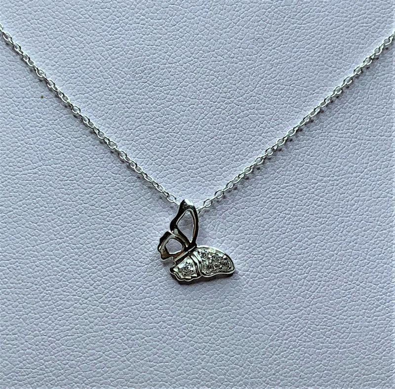 CZ Crystal Butterfly Sterling Silver Pendant