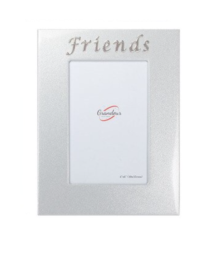 "Friends Silver Metal Photo Frame with Embossed ""Friends"""